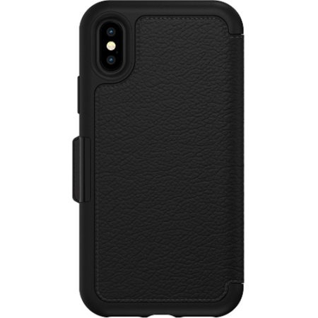 otterbox strada folio iphone xs leather wallet case - black