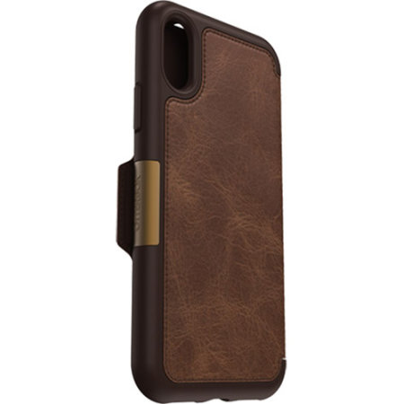 otterbox strada folio iphone xs leather wallet case - brown
