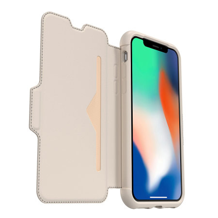 OtterBox Strada Folio iPhone XS Leather Wallet Case - Soft Opal