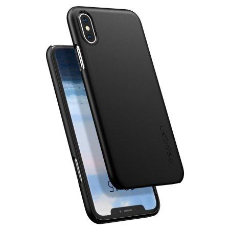 spigen thin fit iphone xs shell case - matte black