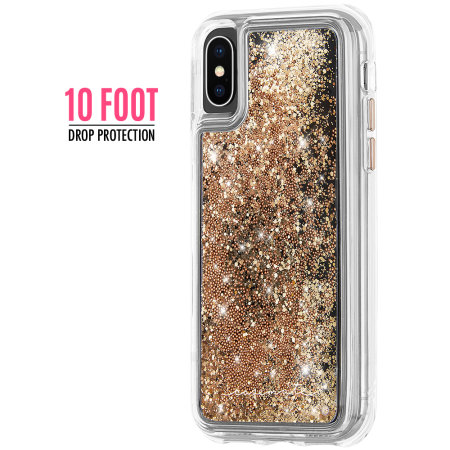 check out 14d6e 04c9b Case-Mate iPhone XS Waterfall Glow Glitter Case - Gold