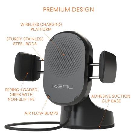 Kenu Airbase 10W Qi Wireless Charging Windscreen & Dash Car Holder