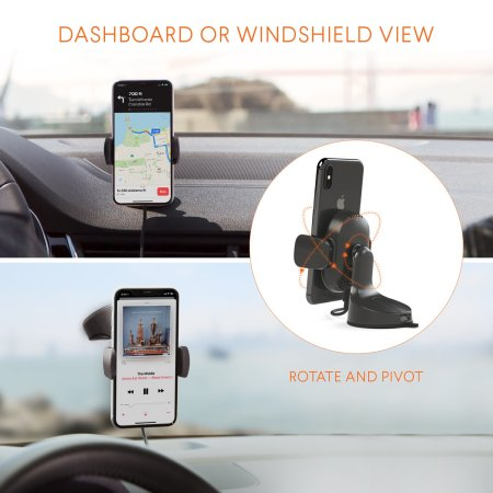 Kenu Airbase Qi Fast Wireless Charging Windscreen / Dash Car Holder