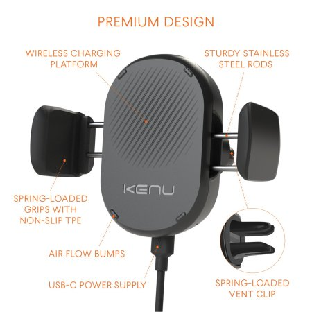 Kenu Airframe Qi Fast Wireless Charging Vent Mount Car Holder