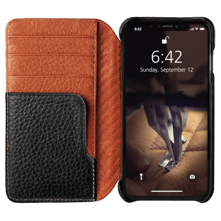 vaja wallet lp iphone xs max premium leather case - black / tan