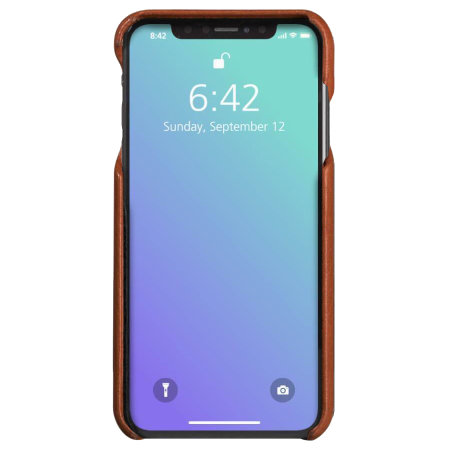 vaja grip iphone xs max premium leather case - tan