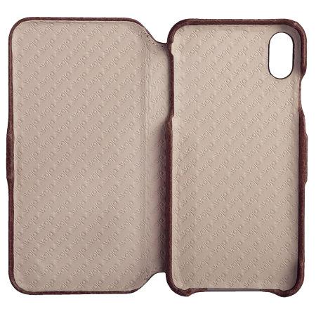 vaja folio iphone xs max premium leather case - brown