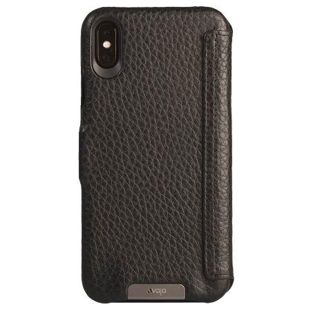 vaja folio iphone xs max premium leather case - black