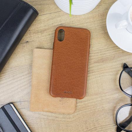 vaja grip slim iphone xs premium leather case - tan