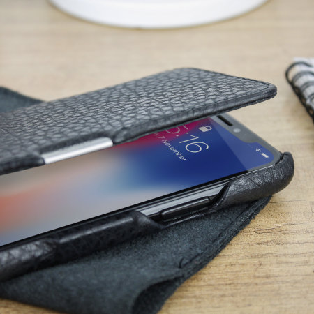 vaja agenda mg iphone xs premium leather flip case - black