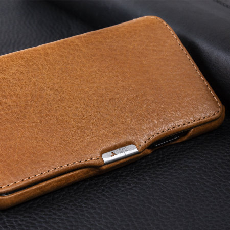 vaja agenda mg iphone xs premium leather flip case - tan
