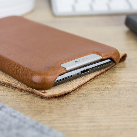 vaja grip iphone xs premium leather case - tan