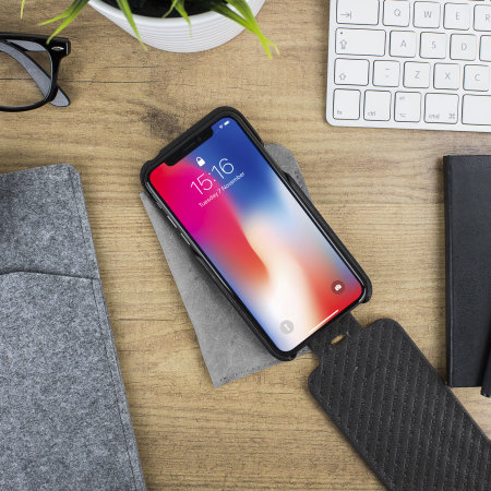 vaja top flip iphone xs premium leather flip case - black
