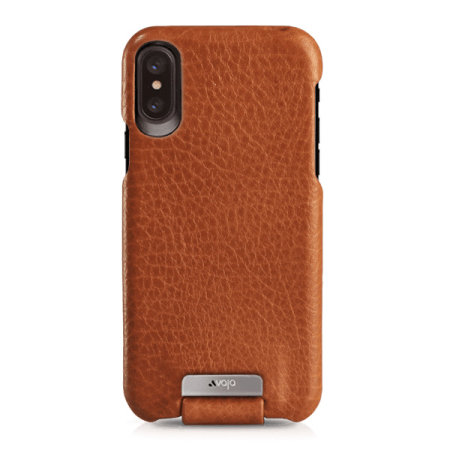 vaja top flip iphone xs premium leather flip case - tan