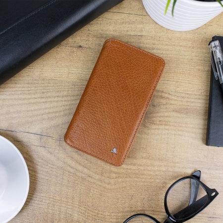vaja wallet agenda iphone xs premium leather case - tan