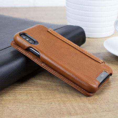 vaja wallet agenda iphone xs premium leather case - tan
