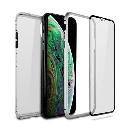 olixar colton iphone xs max 2-piece case w/ screen protector - silver