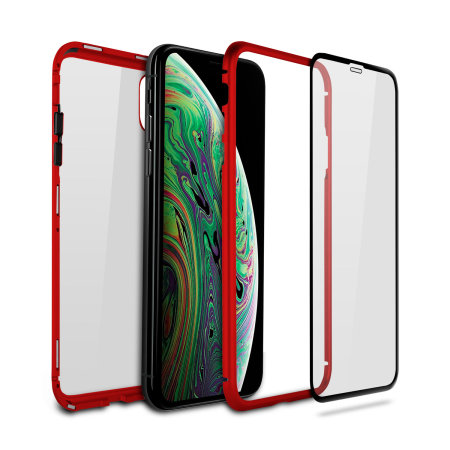 olixar colton iphone xs max 2-piece case with screen protector - red