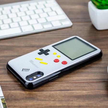 SuperSpot iPhone XS Retro Spielhülle - Kohlenstoffweiß