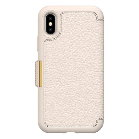 otterbox strada folio iphone x leather wallet case - soft opal
