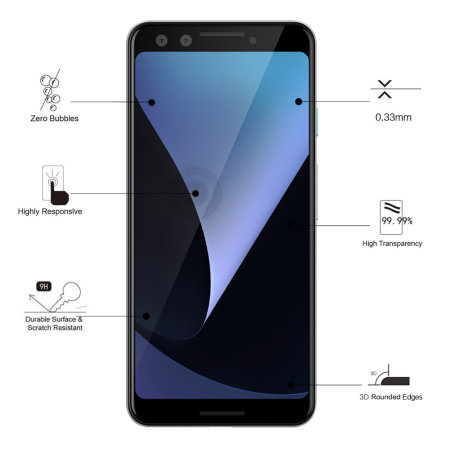 Eiger 3D Glass Google Pixel 3 Tempered Glass Screen Protector - Black