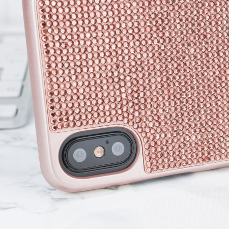 iphone xs case - rose gold - lovecases luxury crystal