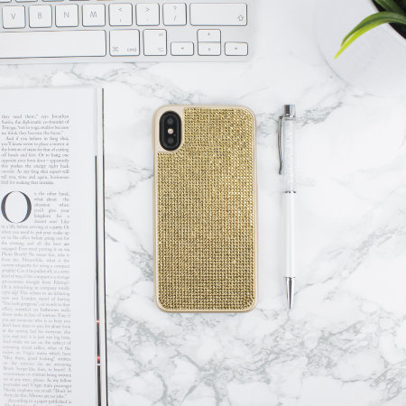 lovecases luxury crystal iphone xs case - gold