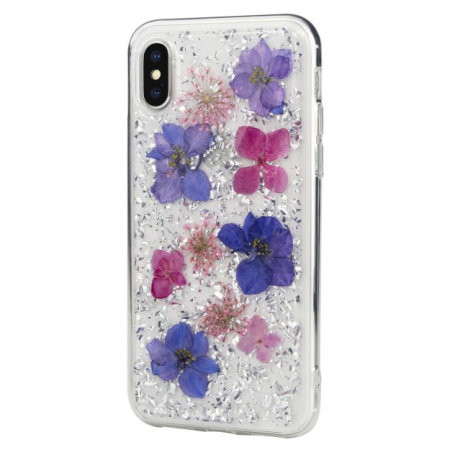 switcheasy flash iphone xs natural flower case - purple