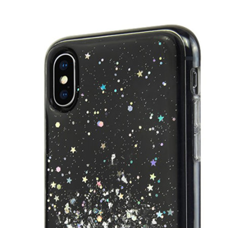 switcheasy starfield iphone xs glitter case - black