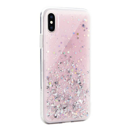 switcheasy starfield iphone xs glitter case - pink