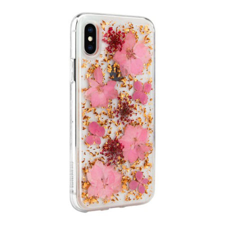 switcheasy flash iphone xs max natural flower case - luscious pink