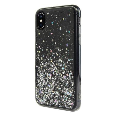 switcheasy starfield iphone xs max glitter case - black