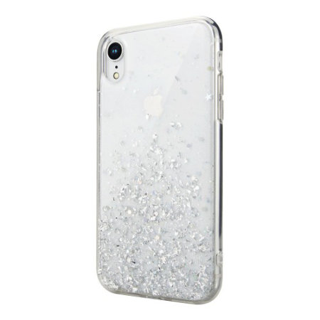 switcheasy starfield iphone xr glitter case - clear