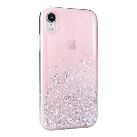 switcheasy starfield iphone xr glitter case - pink