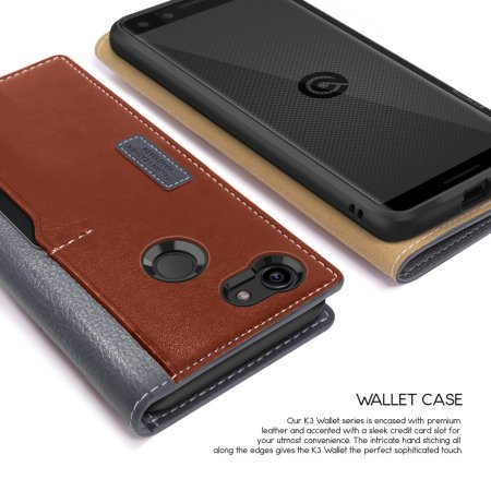 reputable site 5cac8 17edc Obliq K3 Google Pixel 3 Leather Style Wallet Case - Grey / Brown