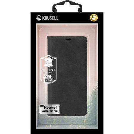 Krusell Sunne 2 Card Huawei Mate 20 Pro Folio Wallet Case - Black