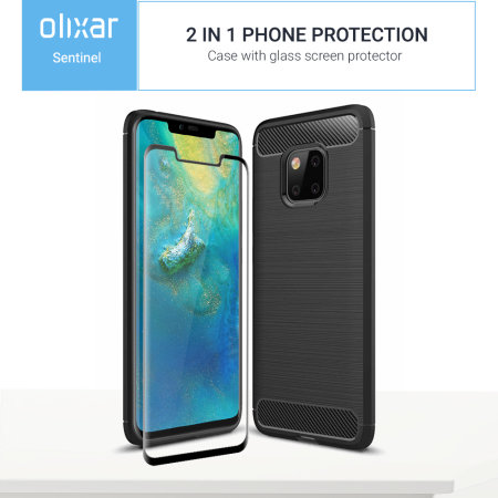 Olixar Sentinel Huawei Mate 20 Pro Case & Glass Screen Protector-Black