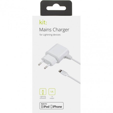 KIT MFI Lightning iPhone Mains Charger 1A - EU Plug