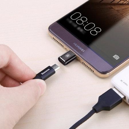Adaptador Baseus Micro USB a USB-C - Negro