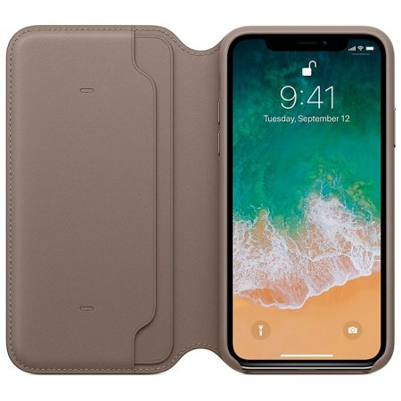 official apple iphone xs leather folio wallet case - taupe