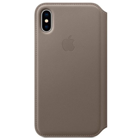 official apple iphone x leather folio wallet case - taupe