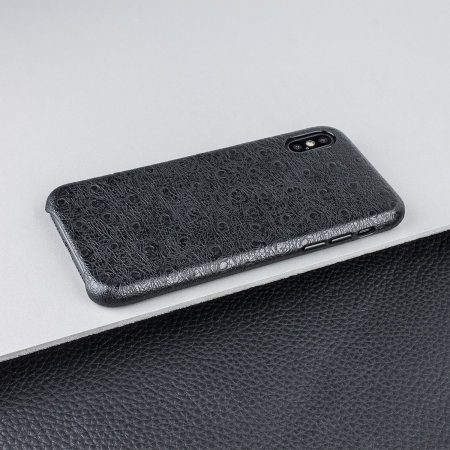 olixar ostrich premium genuine leather iphone xs case - black