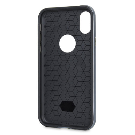 olixar xduo iphone xs case - carbon fibre metallic grey