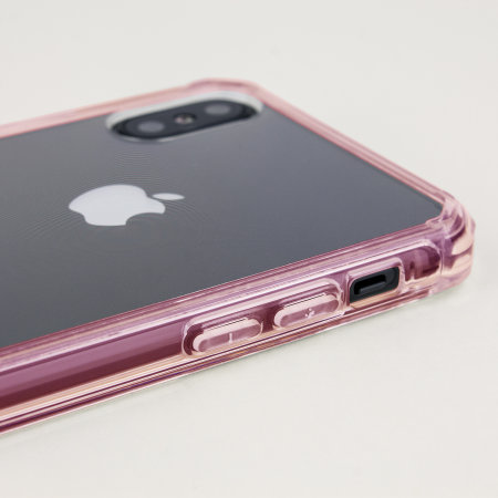 olixar exoshield tough snap-on iphone xs case - rose gold / clear