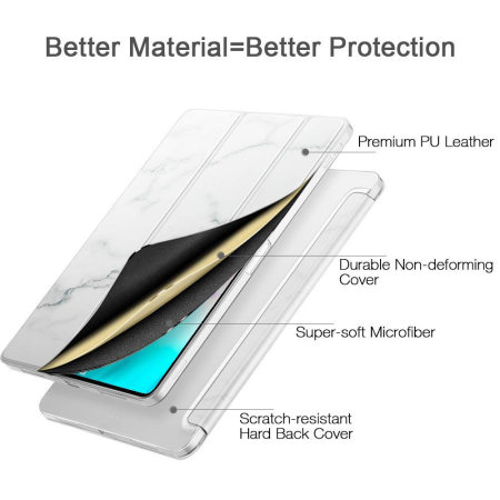 ESR iPad Pro 11 Faltbarer Ständer Smart Hülle - Weißer Marmor