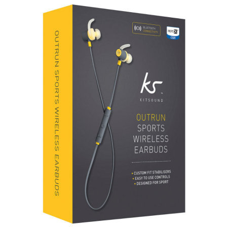 KitSound Outrun Bluetooth Wireless Sports In-Ear Headphone - Yellow