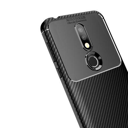 Olixar Nokia 7.1 Carbon Fibre Case - Black