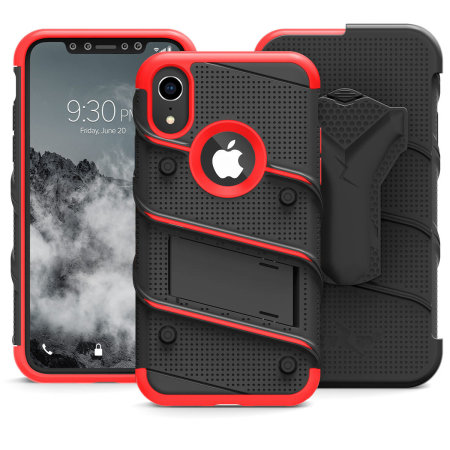 Zizo Bolt iPhone XR Tough Case & Screen Protector - Black / Red