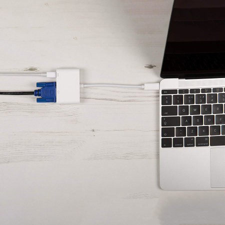 Techplus 3.1 USB Type-C to VGA F Adapter with USB-C Charge - White