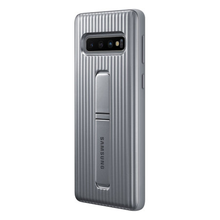 Official Samsung Galaxy S10 Plus Protective Stand Cover Case - Silver